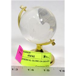 GLASS SPHERICAL GLOBE ON BRASS STAND.