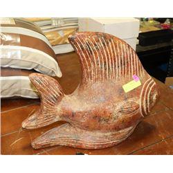 "LARGE HEAVY CEMENT FISH STATUE - 20""L X 16""H."