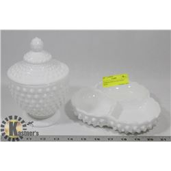 2 HOBNAIL MILK GLASS CANDY DISHES