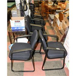 LOT OF 6 BLACK WAITING ROOM CHAIRS