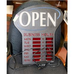 LED OPEN SIGN WITH BUSINESS HOURS DISPLAY