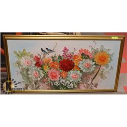 LARGE FRAMED ASIAN OIL PAINTING 48 X 27