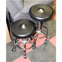 PAIR OF CHROME BASE HYDRAULIC LIFT STOOLS