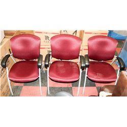 SET OF 3 NEW RED/GREY/BLACK WAITING ROOM CHAIRS