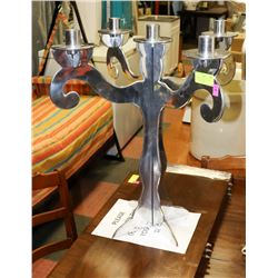 LARGE 2 FEET TALL STAINLESS STEEL CANDELABRA