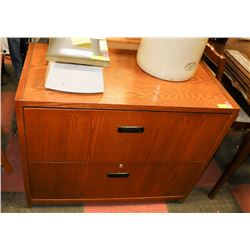 "2 DRAWER WOOD LATERAL FILING CABINET, 36""X19""X29""."