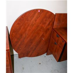 ROUND WOOD TONE COMMERCIAL TABLE