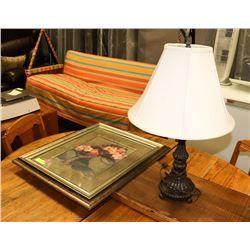 BOWRING LAMP & FRAMED PRINT 25 X 20 1/2