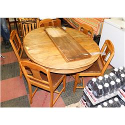 "OAK DINING TABLE (44""X55""X29"") WITH 5 CHAIRS AND"