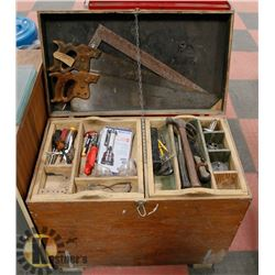 WOODEN TOOLBOX W/CARPENTRY TOOLS