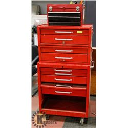 RED STACKING TOOL BOXES W/MECHANICS TOOLS