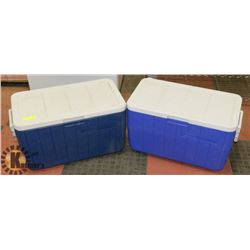 "LOT OF 2 COLEMAN COOLERS, 24"" X 14"" X 13"""