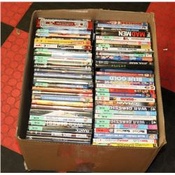 BOX OF 120+ ASSORTED DVDS.