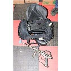 PAINTBALL GUN WITH ACCESSORIES IN DUFFEL BAG.