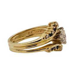 0.66 ctw Diamond and Sapphire Ring - 14KT Yellow Gold