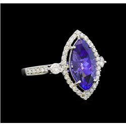 14KT White Gold 2.66 ctw Tanzanite and Diamond Ring