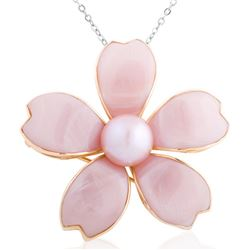 14k Yellow Gold  Mother Of Pearl and Pearl Pendant