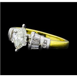 1.01 ctw Diamond Ring - -18KT Yellow Gold and Platinum