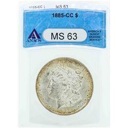 1885-CC $1 Morgan Silver Dollar Coin ANACS MS63