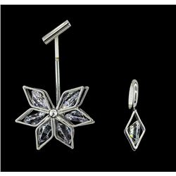 Snow Flake Crystal Earrings - Silver Plated