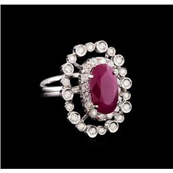 GIA Cert 5.36 ctw Ruby and Diamond Ring - 14KT White Gold