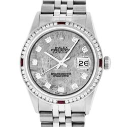 Rolex Mens SS Meteorite Diamond & Ruby Channel Set Diamond Datejust Wristwatch