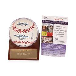 Luis Tiant Autographed Baseball