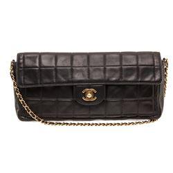 Chanel Black Lambskin Chocolate Bar East West Flap Bag