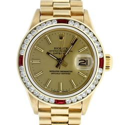 Rolex Ladies 18K Yellow Gold Ruby And Champagne Index President Wristwatch With