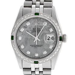 Rolex Mens Stainless Steel Meteorite Diamond And Emerald Datejust Wristwatch