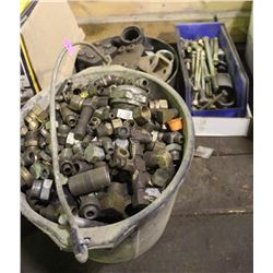 BUCKET & 2 BOXES OF ASSORTED BOLTS, CONNECTORS &