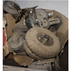 LOT OF MISC CASTER WHEELS, WHEELS AND MORE