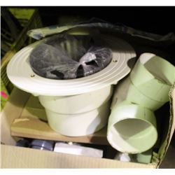 BOX OF VARIOUS DRAIN COVERS, FITTINGS  AND MORE