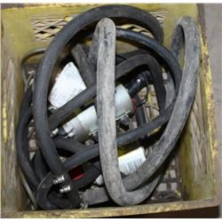 BOX OF VARIOUS HOSES AND PUMP