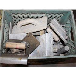 BOX OF ASSORTED SIDEWALK FINISHING TOOLS