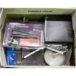BOX OF NEW DVR DISCS AND MORE