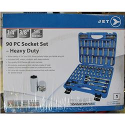 NEW JET 90PC SOCKET SET - HEAVY DUTY, 1/4 & 3/8 DRIVE