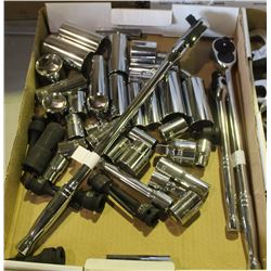 FLAT OF ASSORTED NEW SOCKETS & RATCHETS