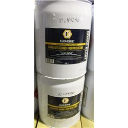 TWO 18L BARRELS OF KLONDIKE BRAKE PARTS CLEANER