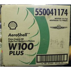 CASE OF 12 AEROSHELL PISTON ENGINE OIL W100 PLUS