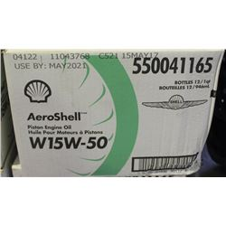 CASE OF 12 AEROSHELL PISTON ENGINE OIL W15W-50