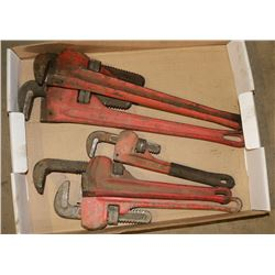 FLAT OF VARIOUS PIPE WRENCHES