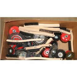 BOX OF ASSORTED NEW WIRE BRUSHES & WHEEL BRUSHES