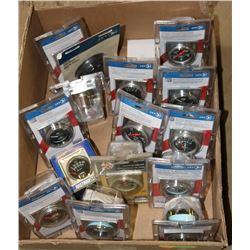 BOX OF VARIOUS NEW PRESSURE & VACUUM GAUGES AND MORE