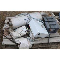 PALLET WITH MUFFLER, ELECTRICAL BOX, HOSES &