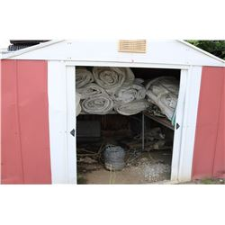 SHED & CONTENTS, INCLUDES TARPS, GROUND ROLLER &