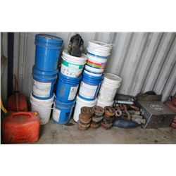LOT OF ASSORTED FITTINGS, SHACKLES, BUCKETS, GAS