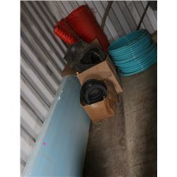 LOT OF SNOW FENCING, RUBBER SEALS, PVC HOSE &