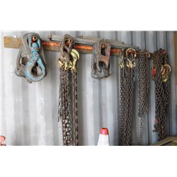 LARGE LOT OF CHAINS, HOOKS & TIE-DOWNS