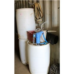 LOT OF PLASTIC BARRELS, FILL-RITE PUMP, MISC